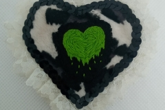 Hand-embroidered-upcycled-Slimy-heart-brooch