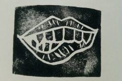 Monster-mouth-lino-print-close-up