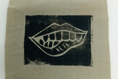 Lino-printed-Monster-mouth-patch-black-on-beige