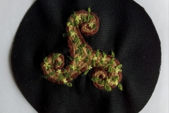 Hand-embroidered-Triskelion-patch