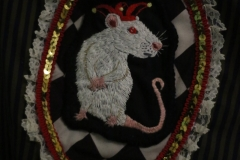 Hand-embroidered-upcycled-pinstriped-jester-rat-jacket.-details.-size-12