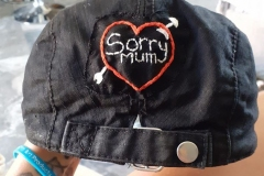 Sorry-mum-patch-on-Ambers-hat