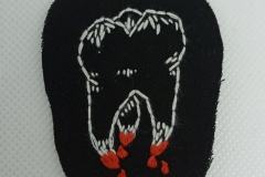 Hand-embroidered-bloody-tooth-patch